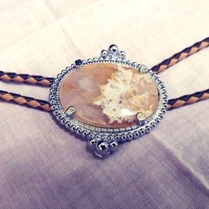 Bolo Tie with Polished Stone and Faux Leather Cord